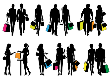 live work city: Several people in shopping center - vector silhouettes