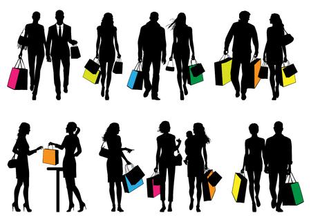 Verschillende mensen in het winkelcentrum - vector silhouetten