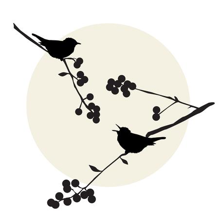 macro: Birds on the branch during summer days - vector illustration
