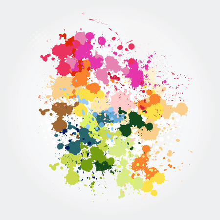 Colorful paint splashes Vector illustration