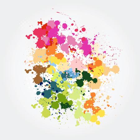 Colorful paint splashes Vector illustration