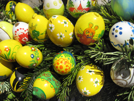 Background with Easter Eggs decorated by children Stock Photo