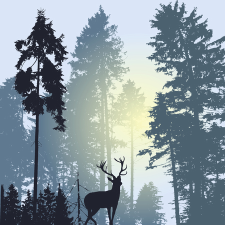 Landscape with silhouette of forest trees and deer grey tones