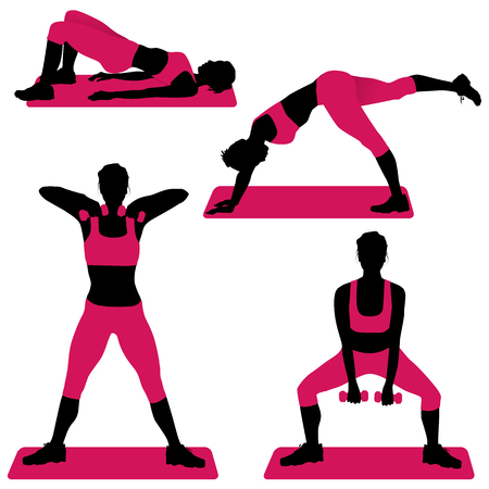 bosom: Young woman doing exercises for firm buttocks - vector illustration