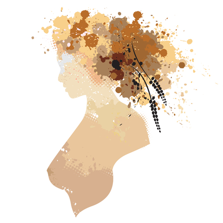 deface: The woman portrait in profile with stains. Vector illustration