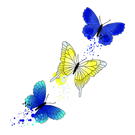 twigs: Vector background with flying butterflies