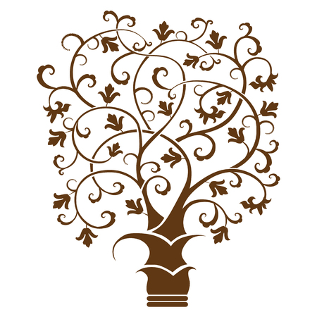 Abstract art tree, black on white background - vector illustration Ilustração