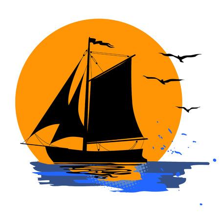 熱帯の夜。ヤシの木と船と夕日