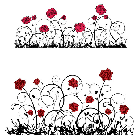 Ornament with roses, vector banner, set, designers elements. Illustration