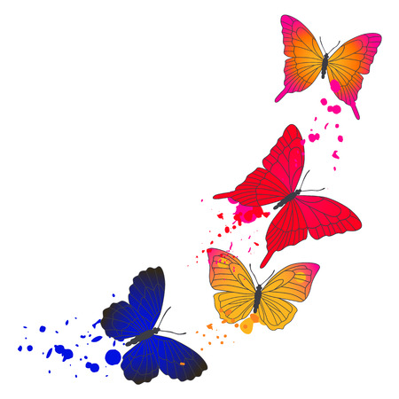 Vector background with flying colorful butterflies.