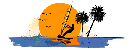 Summer holiday, lonely sailor with birds and trees - Vector illustration.