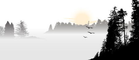 Mountain view with flying birds during sunrise