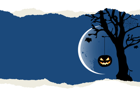 Two pumpkins are hanging on the tree. Halloween background with place for your text