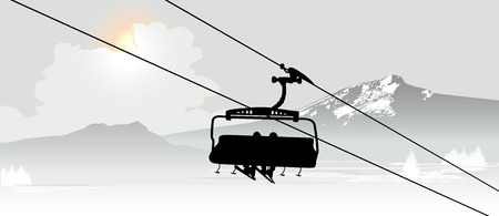 Cable way in the Ski Mountain Resort. Vector illustration Stock Illustratie