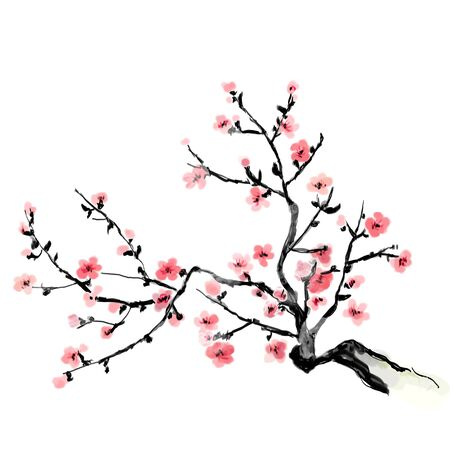 A flourishing branch of cherry, painting. Japanese art.  Bitmap illustration