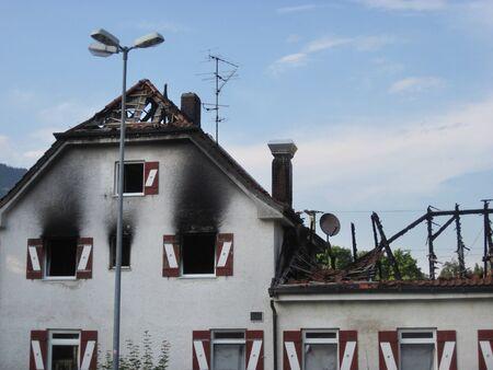 Damaged hotel building after burned by fire. Bad Reichenhall, Germany Zdjęcie Seryjne