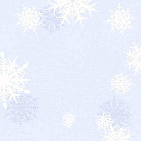 Greeting Card decorations vector illustration. Blurred christmas background - snowflakes