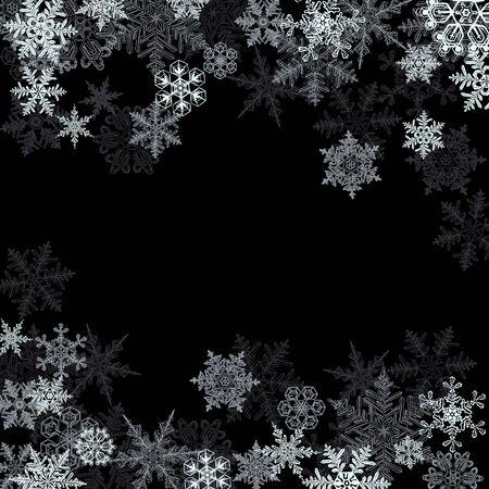 Fondo de invierno, copos de nieve - ilustración vectorial