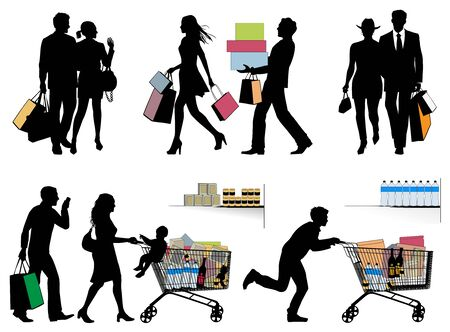 Black Friday. Several People in hurry, pre-holiday fever, shopping - vector silhouettes 向量圖像