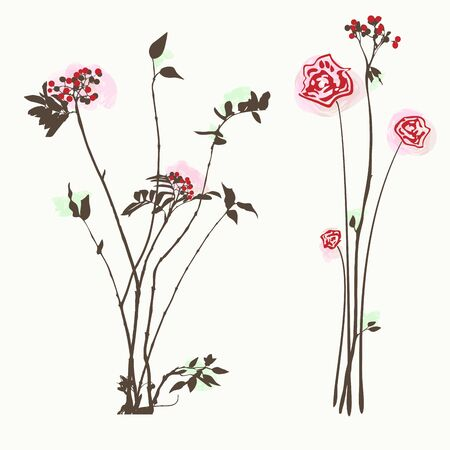 Floral background roses and rowan  or cranberry, vector illustration. Isolated on white.