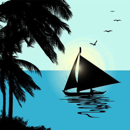 Tropical Landscape Sunset with a boat. Vector Illustration