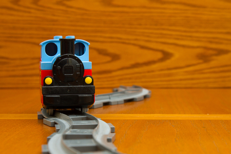 Toy train. Front view Stock Photo