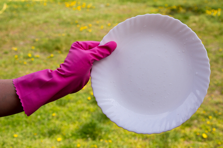 wash: Hands in pink protective gloves washing a plate