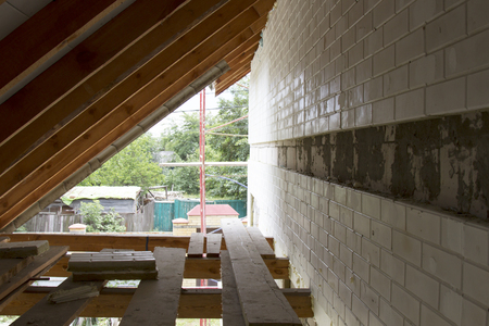 Delightful An Interior View Of A House Attic Under Construction Photo