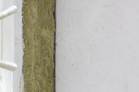 Mineral wool on the wall