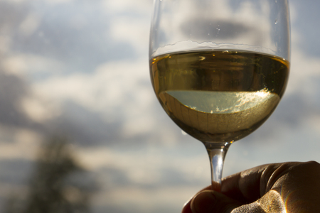 Hand with a glass of white wine