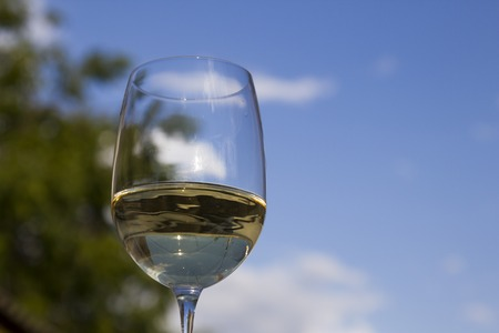 A glass of white wine Stock Photo