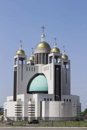 New Catholic temple with golden domes Stock Photo