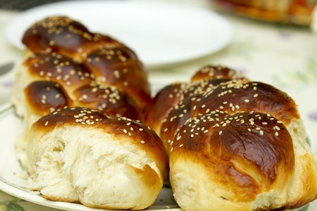 hasidism: Challah for Shabbat , jewish bread bakery tradition Stock Photo