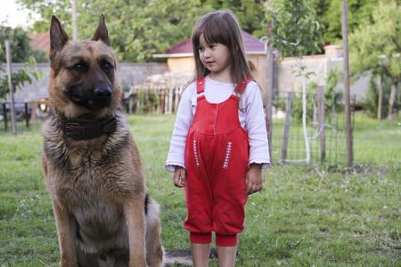 Little girl with a German shepherd