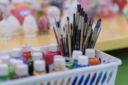 Watercolor paints with artistic brush, paint and draw Stock Photo