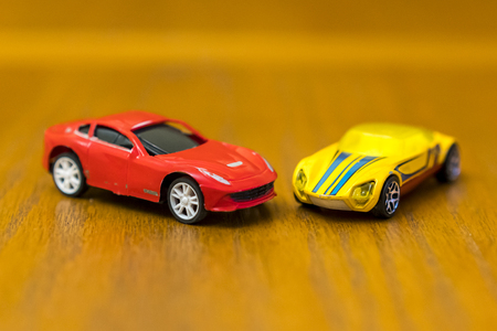 Red and Yellow cars Stock Photo