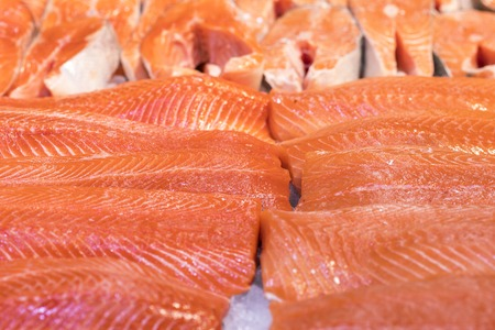 Salmon Fillet in Ice on the supermarket counter