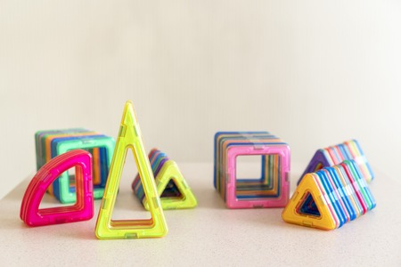 Different multi-colored geometric figures for teaching children Stock Photo
