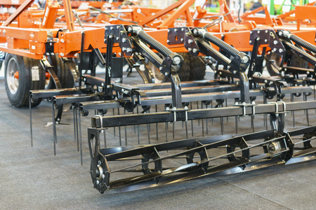 Agricultural machinery in agricultural fair. Stock Photo