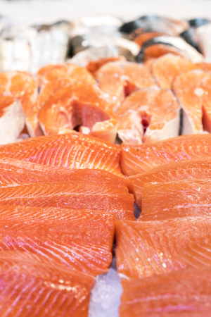 Fresh trout fillets in the ice. healthy food. Stock Photo