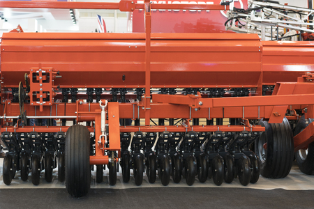 New, modern agricultural machinery. Stubble cultivator close-up Reklamní fotografie