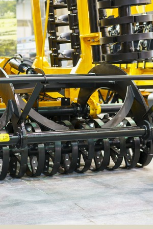 New agricultural machinery at the exhibition. Stock Photo