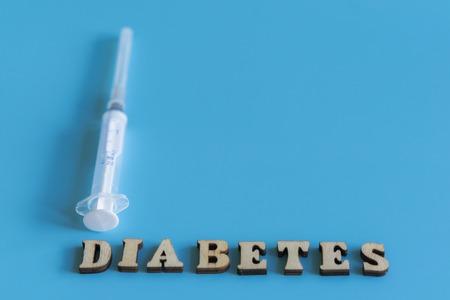 Diabetes inscription on a blue background. copy space. Stock Photo