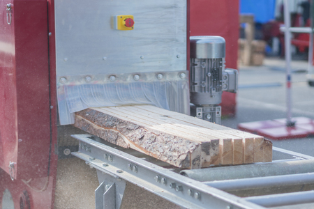 The log, sawn to the board, comes out of the sawmill. Woodworking industry.