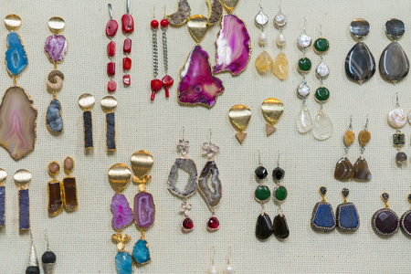 jewelry from semi-precious stones. Earrings with stones.