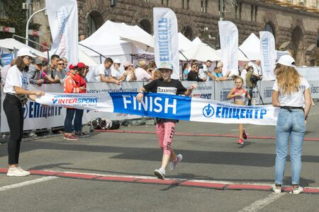 Ukraine, Kiev, Ukraine 09.09.2018 The girl first finish in the race. Promotion of healthy lifestyles