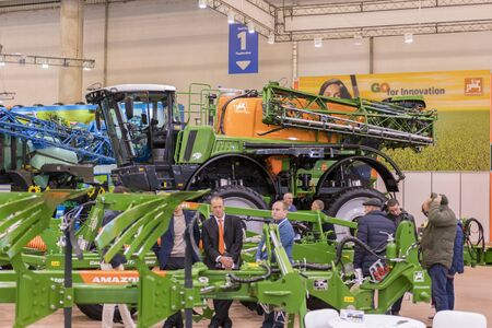 KYIV, UKRAINE - OCTOBER 31, 2018: Combines, tractors and machinery during the agricultural exhibition INTERAGRO - 2018 Sajtókép