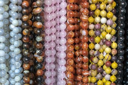 Background from beads. beads market necklaces.