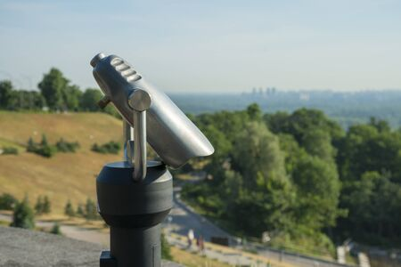Observation deck with a stationary telescope. Фото со стока