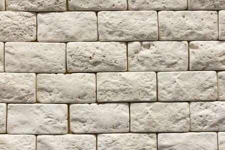Gray wall background of concrete block texture. Banco de Imagens